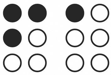 Imagen con iconografía que representa el sistema de escritura en braile