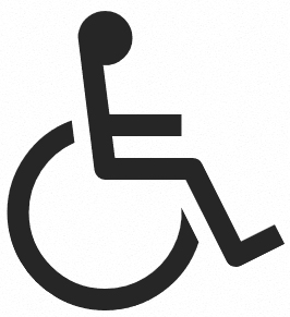 """Imagen con iconografía que representa """"discapacidad motriz"""""""