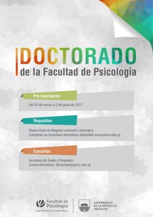 Convocatoria a pre-inscripción: Doctorado en Psicología - Cohorte 2017