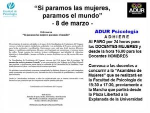 """Comunicado de ADUR: """"Día Internacional de Lucha por los Derechos de las Mujeres"""""""