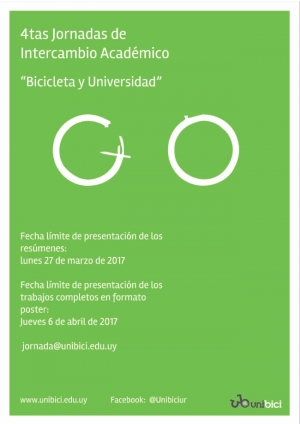 """Convocatoria a presentar trabajos a las 4tas. Jornadas de Intercambio Académico """"Bicicleta y Universidad"""""""