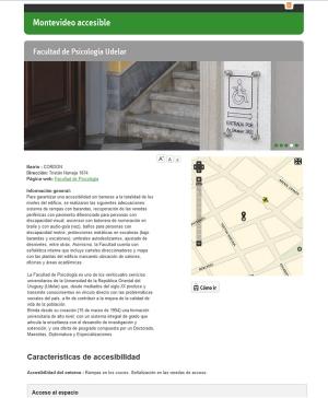 Facultad de Psicología fue incluida en el Mapa de accesibilidad creado por la Intendencia de Montevideo