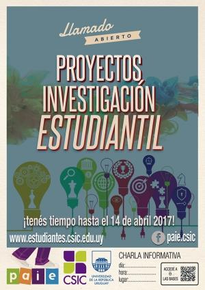 LLamado abierto: Proyectos de Investigación Estudiantil - Extensión de plazo hasta el 29 de mayo de 2017
