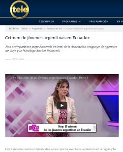 """""""Crimen de jóvenes argentinas en Ecuador"""""""