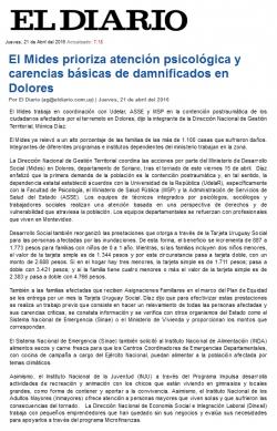 """""""El Mides prioriza atención psicológica y carencias básicas de damnificados en Dolores"""""""
