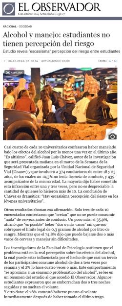 Alcohol y manejo: estudiantes no tienen percepción del riesgo (Entrevista al Asist. Juan Luis Chavez)
