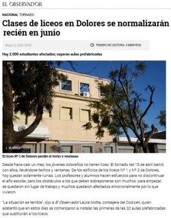 """""""Clases de liceos en Dolores se normalizarán recién en junio"""""""