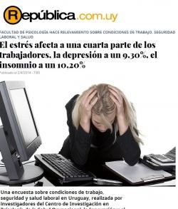 El estrés afecta a una cuarta parte de los trabajadores, la depresión a un 9,30%, el insomnio a un 10,20%
