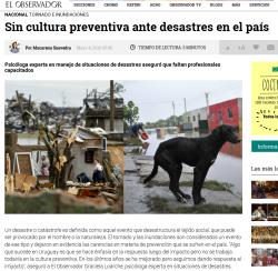 """""""Sin cultura preventiva ante desastres en el país"""""""