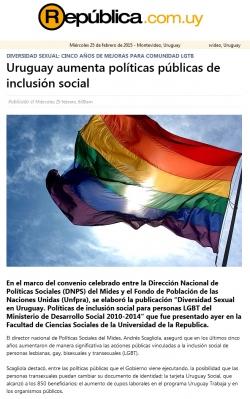"""""""Uruguay aumenta políticas públicas de inclusión social"""" (nota de prensa)"""