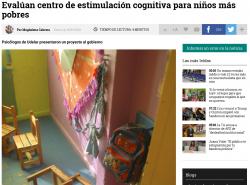 """""""Evalúan centro de estimulación cognitiva para niños más pobres"""""""