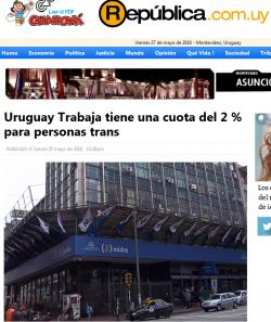 """""""Uruguay Trabaja tiene una cuota del 2 % para personas trans"""""""